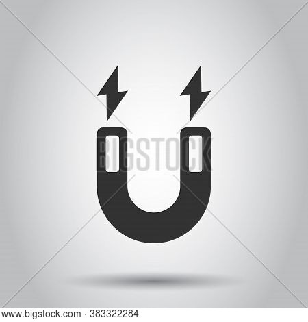 Magnet Icon In Flat Style. Attract Vector Illustration On White Isolated Background. Electromagnetic