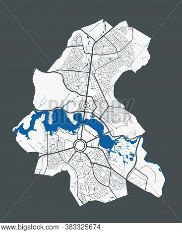 Canberra Map. Detailed Vector Map Of Canberra City Administrative Area. Poster With Streets And Wate