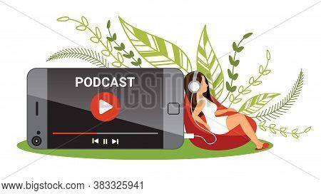 Woman Is Sitting At Mobile And Listening To Podcasting For Podcast Concept
