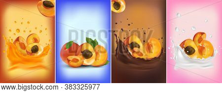Apricot Juice, Apricot In Chocolate, Milk Splash. Collection Fresh Apricot. Sweet Dessert. 3d Realis