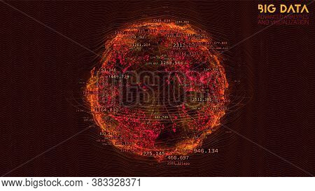 Spherical Data Cloud Visualization. 3d Big Data Scientific Processing. Futuristic Hud Or Ui Mainfram