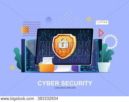 Cyber Security Flat Concept With Gradients. Firewall Software, Password Identification And Privacy W