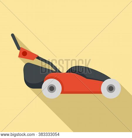 Grass Lawn Mower Icon. Flat Illustration Of Grass Lawn Mower Vector Icon For Web Design