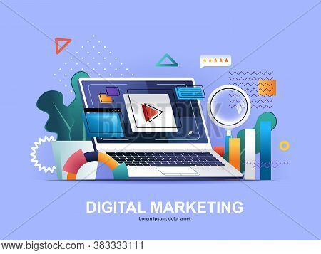 Digital Marketing Flat Concept With Gradients. Social Media Marketing, Online Consultation And Strat