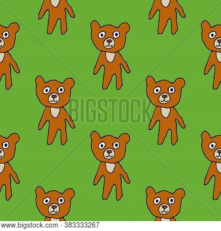 Cute Cartoon Bear In Childlike Doodle Style Seamless Pattern. Woodland Animal Background. Vector Ill