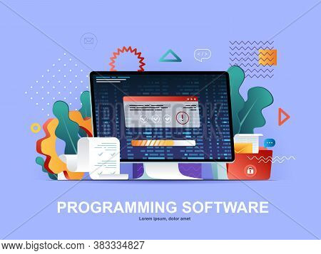 Programming Software Flat Concept With Gradients. Full Stack Software Development, Engineering, Prog