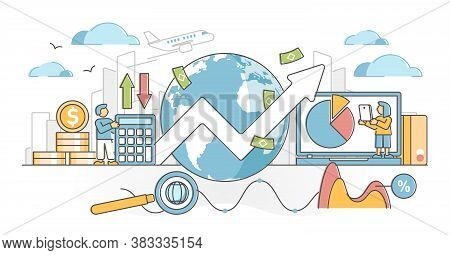 Macroeconomics As Global Market Financial Economy Report Outline Concept. International Money Profit