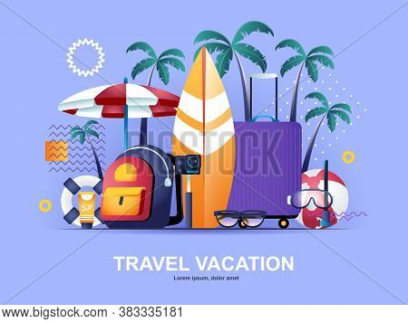 Travel Vacation Flat Concept With Gradients. Booking Of Airline Tickets And Hotel Rooms Web Template