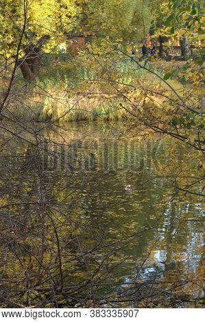 Autumn Background. Lake In The Autumn Park. Beautiful Reflection Of Trees And Sky In The Water. Earl