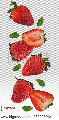 Realistic Strawberry On Transparent Background. Whole Strawberries, Sliced Strawberries With With Gr