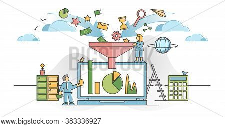 Data Filter With Information Flow Analysis And Management Outline Concept. Business Data Selection A