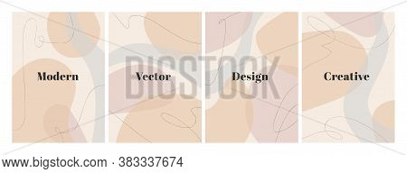 Set Of Stylish Templates With Organic Abstract Shapes And Line In Nude Colors. Pastel Background In