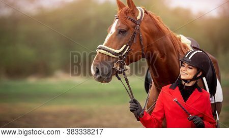 Portrait Jockey Woman Rider With Brown Horse, Concept Advertising Equestrian Club School