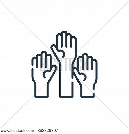 raise hand icon isolated on white background from education collection. raise hand icon trendy and m