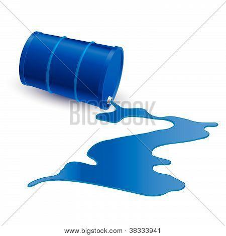 Barrel with blue liquid