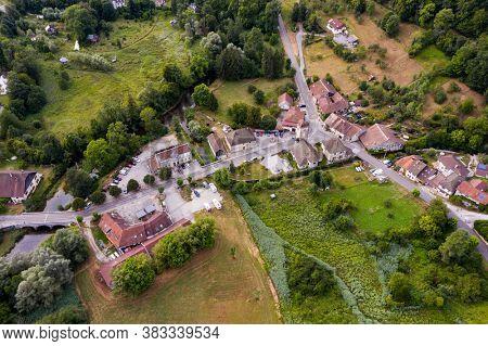 Nans-Sous-Sainte-Anne, France, August 3, 2020 - aerial vue of village in Doubs of Nans-Sous-Sainte-Anne. Close to Lison source
