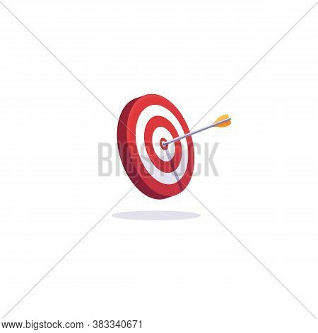 Archery Target And Arrows. Goal Achievement And Accuracy Concept. Arrow Target Illustration. White B