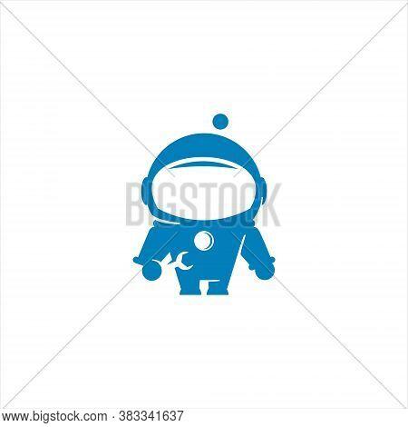 Simple Modern Purple Astronaut Illustration Mascot For Aerospace Mechanic Design Element Or Sticker