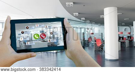 3D rendering of a tablet with a business videocall and an empty office