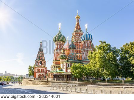 Cathedral Of Vasily The Blessed (saint Basil's Cathedral) On Red Square At Sunrise, Moscow, Russia
