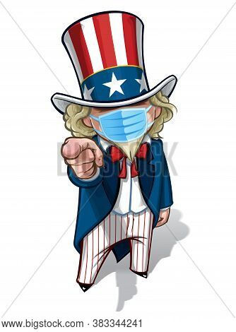 Vector Illustrations Of A Cartoon Uncle Sam, Pointing 'i Want You', Wearing A Surgical Mask. All Ele
