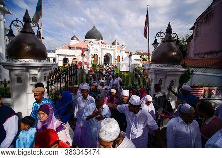 Georgetown, Penang/malaysia - Sep 12 2016: Muslim Walk Out From Masjid Kapitan Keling Mosque After F