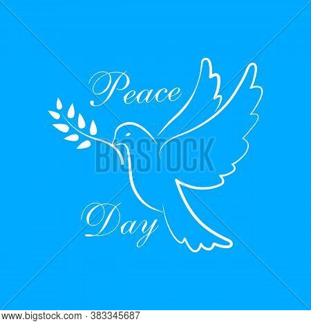 International Peace Day With Dove. Dove Of Peace Symbol. Dove With Olive Branch