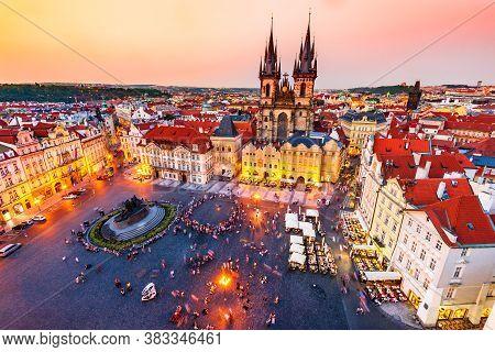Prague, Czech Republic. Stare Mesto Old Square Tyn Church, Bohemia.
