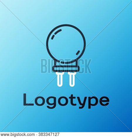 Line Light Emitting Diode Icon Isolated On Blue Background. Semiconductor Diode Electrical Component