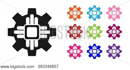 Black Processor Icon Isolated On White Background. Cpu, Central Processing Unit, Microchip, Microcir