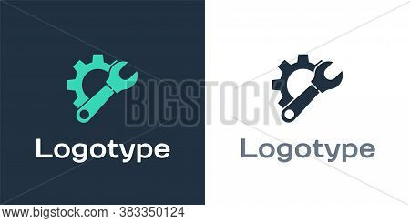 Logotype Wrench Spanner And Gear Icon Isolated On White Background. Adjusting, Service, Setting, Mai