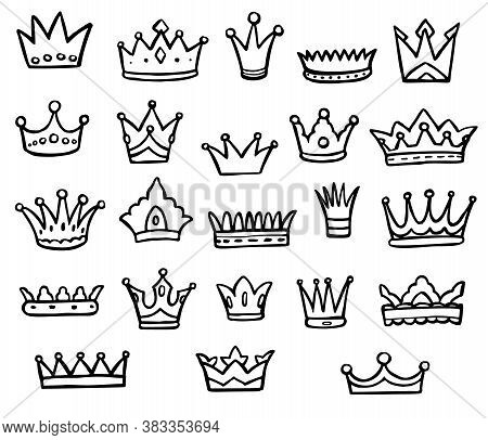 Doodle Crown. Black-and-white Doodle Queen Or King Crown Logo Graffiti Isolated Icon Set On White. V