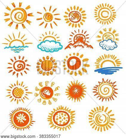 Sun Symbol. Hand Drawn Sun Symbol Collection On White Background. Sunlight Sticker. Sunshine Color I