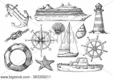 Marine Item. Black-and-white Ship, Anchor, Lighthouse, Rope Knot, Nautical Compass, Dinghy, Lifebuoy