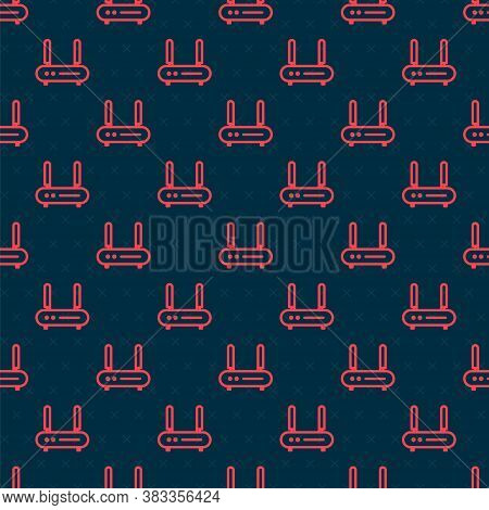 Red Line Router And Wi-fi Signal Icon Isolated Seamless Pattern On Black Background. Wireless Ethern