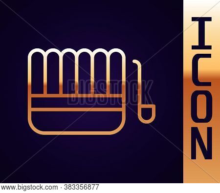 Gold Line Sauna Bucket And Ladle Icon Isolated On Black Background. Vector Illustration