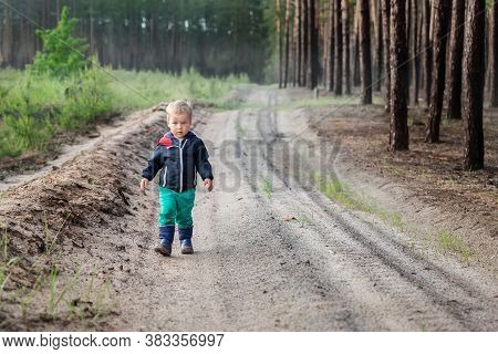 Cute Adorable Little Blond Caucasian Toddler Boy Walking Alone By Rural Country Sand Road On Ranch O