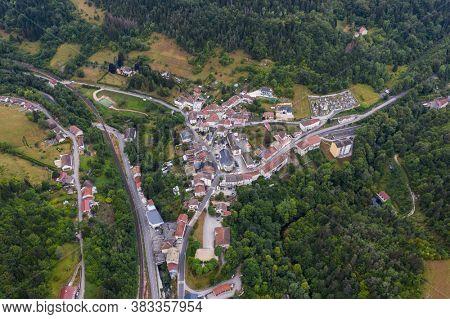 Saint-Germain-de-Joux, France, August 3, 2020 - Aerial view of the village of Saint-Germain-de-Joux