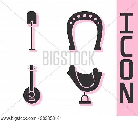 Set Wild West Saddle, Shovel, Banjo And Horseshoe Icon. Vector