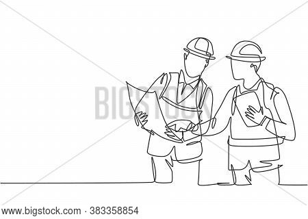 One Single Line Drawing Of Young Architect And Engineer Discussing Building Construction Blueprint D