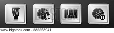 Set Drum, Vinyl Disk, Music Synthesizer And Vinyl Disk Icon. Silver Square Button. Vector