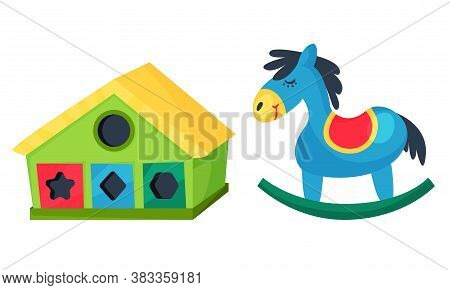 Colorful Children Toys With Horse And House Shape Sorter Vector Set