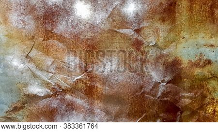 Seamless Texture Of Old Crumpled And Rusty Metal. A Crumpled Metal Plate. Rusty Grunge Background Of