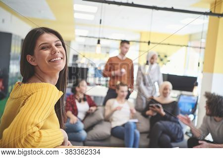 casual business woman at work  in creative modern coworking startup open space office