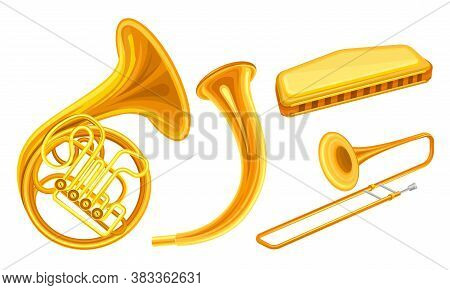 Brass Musical Instruments With Trombone And Horn Vector Set