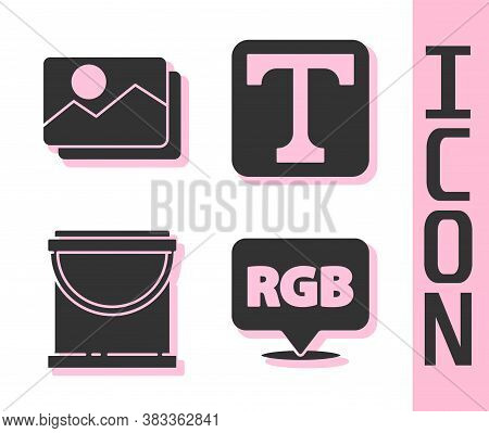 Set Speech Bubble With Rgb And Cmyk, Picture Landscape, Paint Bucket And Text Icon. Vector