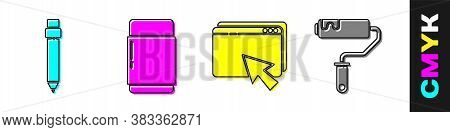 Set Pencil With Eraser, Eraser Or Rubber, Web Design And Development And Paint Roller Brush Icon. Ve