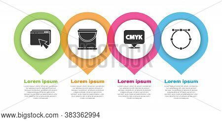 Set Web Design And Development, Paint Bucket, Speech Bubble With Text Cmyk And Circle With Bezier Cu