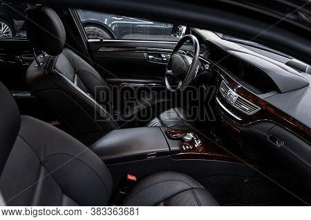 Modern Car Interior. Car Interior With Black Leather Seats