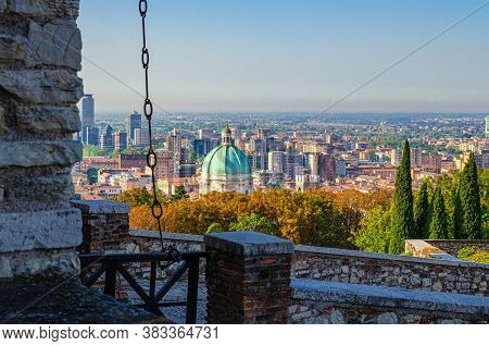 Aerial Panoramic View Of Old Historical City Centre Of Brescia City With Dome Of Santa Maria Assunta